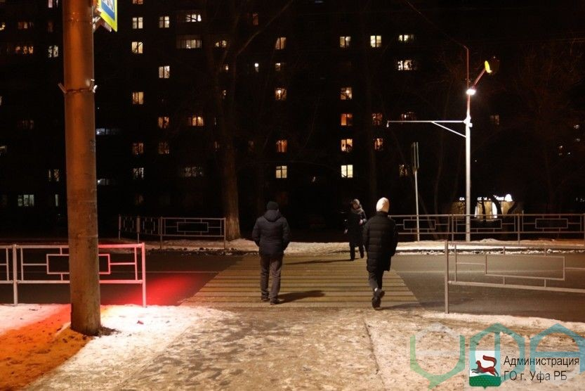 В Уфе на пешеходные переходы устанавливают светодиодную подсветку