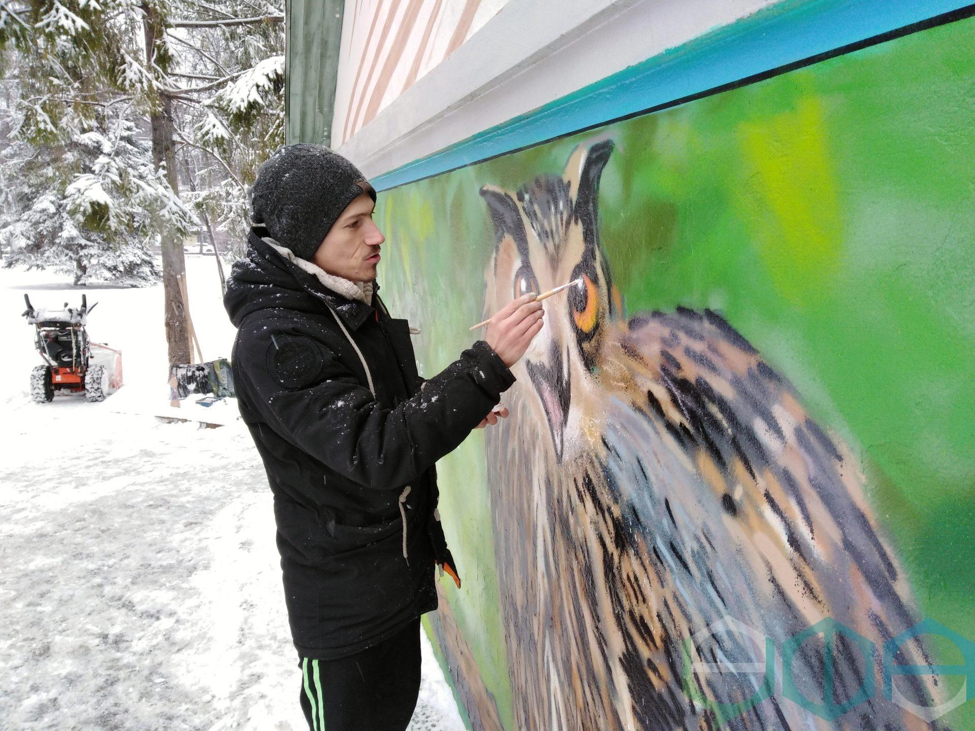 В Уфе появилось граффити с изображением филина