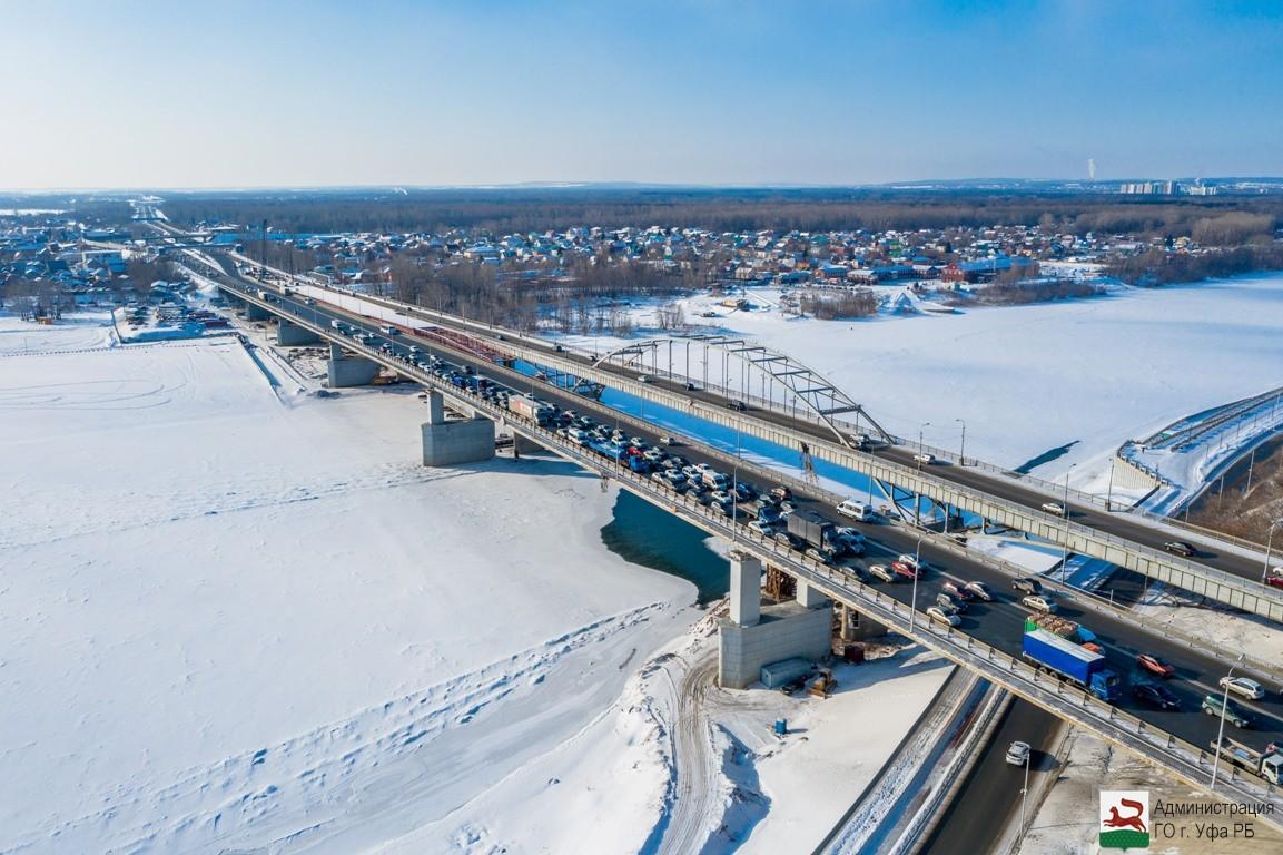 В Уфе на строящемся новом мосту через реку Белую произведено пять этапов надвижки пролетного строения